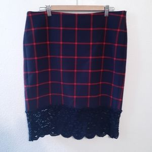 MICHAEL KORS SZ 12 PLAID LACE BOTTOM SKIRT